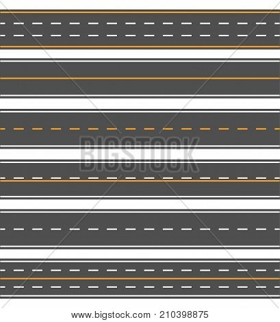 Asphalt horizontal line. Patterns of an asphalt surface, double yellow line, texture material for highway journey. Vector flat style cartoon illustration isolated on white background