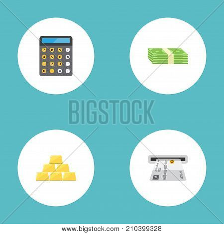 Flat Icons Ingot, Accounting, Teller Machine And Other Vector Elements