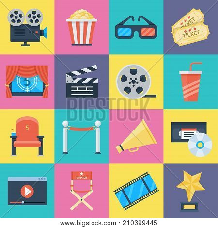 Film icons set. Movie symbols of video camera and big screen, motion-picture medium or film industry. Vector flat style cartoon illustration isolated on white background