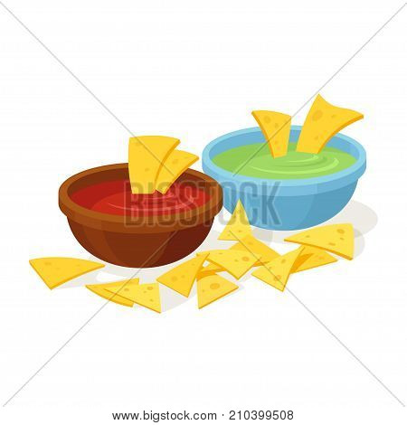 Nachos mexican food. Tortilla chip topped with melted cheese, mexican snack or nacho chips appetizer. Vector flat style cartoon illustration