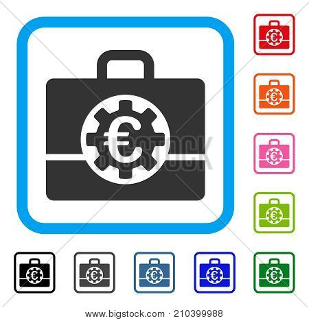 Euro Bank Case icon. Flat grey pictogram symbol in a light blue rounded square. Black, gray, green, blue, red, orange color variants of Euro Bank Case vector. Designed for web and software interfaces.
