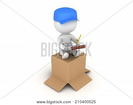 3D illustration of delivery man sitting on top of package. Isolated on white.