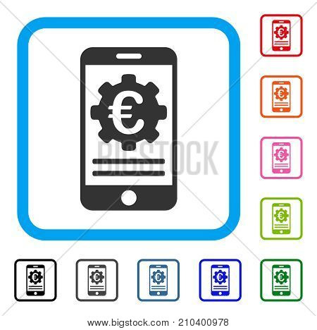 Euro Mobile Banking Configuration icon. Flat gray iconic symbol in a light blue rounded frame. Black, gray, green, blue, red, orange color variants of Euro Mobile Banking Configuration vector.