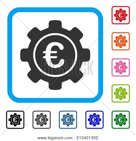 Euro Settings icon. Flat grey pictogram symbol inside a light blue rounded squared frame. Black, gray, green, blue, red, orange color variants of Euro Settings vector.