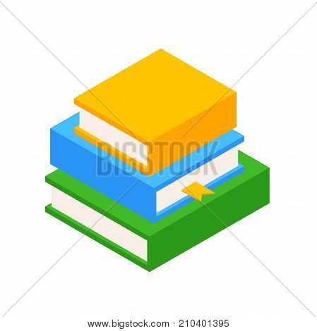 collection of books in hardcover. Stack of three books. Colorful books isolated on white background. Vector illustration with isolated layers. Education concept.