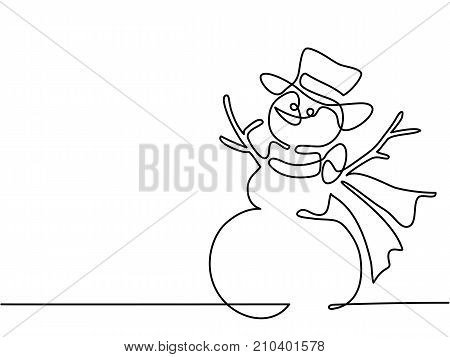 Continuous line drawing. Christmas winter Snowman in scarf. Vector illustration
