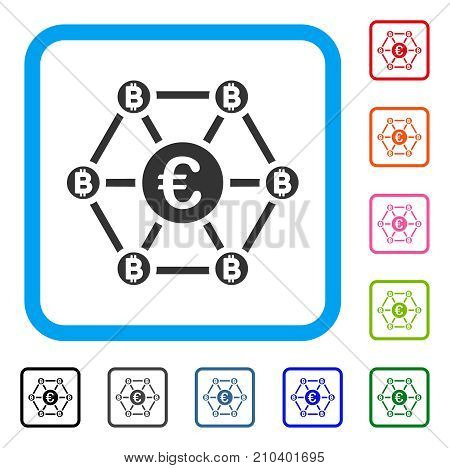 Bitcoin Euro Net Structure icon. Flat grey iconic symbol inside a light blue rounded rectangular frame. Black, gray, green, blue, red, orange color variants of Bitcoin Euro Net Structure vector.