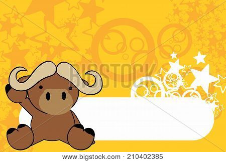 sweet baby oxen cartoon background in vector format very easy to edit