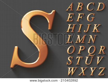 Set of golden luxury 3D uppercase english letters. Golden metallic shiny italic font on grey background. Good typeset for wealth and jewel concepts. Transparent shadow, EPS 10 vector illustration.