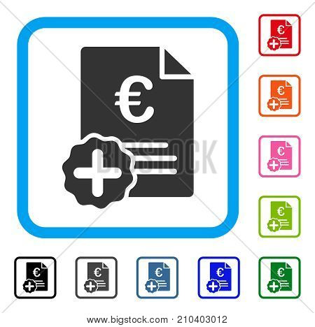 Euro Medical Invoice icon. Flat grey iconic symbol inside a light blue rounded square. Black, gray, green, blue, red, orange color additional versions of Euro Medical Invoice vector.
