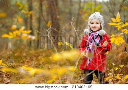 Cute Little Girl Having Fun On Beautiful Autumn Day. Happy Child Playing In Autumn Park. Kid Gatheri