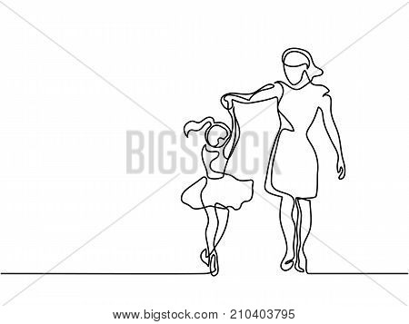 Continuous line drawing. Happy woman mother help to dance to her daughter. Vector illustration total editable, choose thickness and place of line