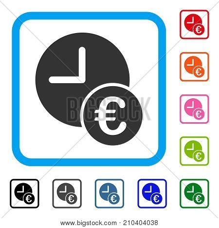 Euro Recurring Payments icon. Flat grey pictogram symbol inside a light blue rounded rectangular frame. Black, gray, green, blue, red, orange color versions of Euro Recurring Payments vector.