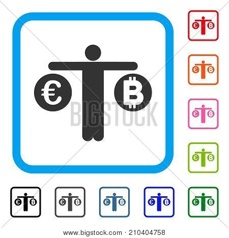 Person Compare Bitcoin And Euro icon. Flat gray pictogram symbol in a light blue rounded rectangle. Black, gray, green, blue, red, orange color versions of Person Compare Bitcoin And Euro vector.