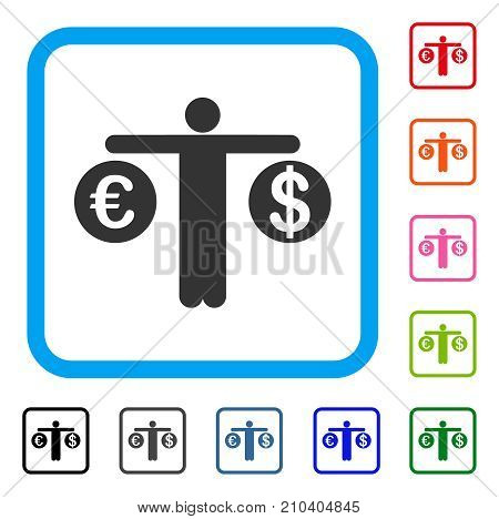 Person Compare Dollar And Euro icon. Flat grey pictogram symbol in a light blue rounded rectangle. Black, gray, green, blue, red, orange color versions of Person Compare Dollar And Euro vector.