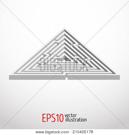 Triangular abstract maze, labyrinth, intricacy Vector illustration 3d