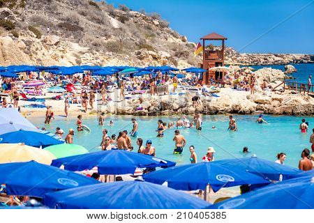Ayia Napa Cyprus - August 18 2017: Konnos Beach One Of The Most Scenic Beaches On Cyprus.
