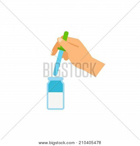 Hand with pipette. Laboratory, research, essence. Testing concept. Can be used for topics like perfumery, chemistry, medicine.