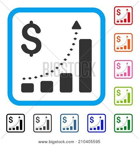 Business Bar Chart Positive Trend icon. Flat grey iconic symbol inside a light blue rounded frame. Black, gray, green, blue, red, orange color variants of Business Bar Chart Positive Trend vector.
