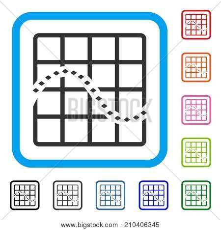 Dotted Function Chart icon. Flat grey iconic symbol inside a light blue rounded squared frame. Black, gray, green, blue, red, orange color variants of Dotted Function Chart vector.