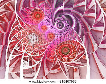 Spiral mosaic fractal pattern. Floral mosaic stain glass composition in purple