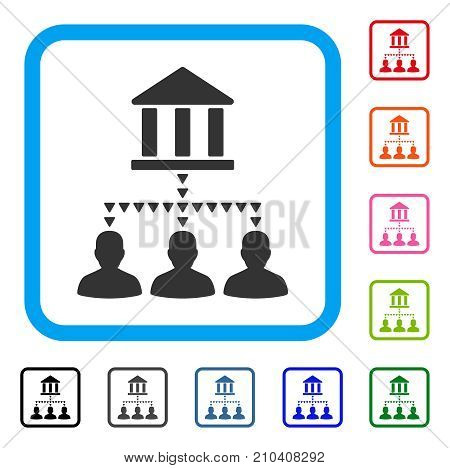 Bank Building Client Links icon. Flat gray pictogram symbol in a light blue rounded frame. Black, gray, green, blue, red, orange color variants of Bank Building Client Links vector.
