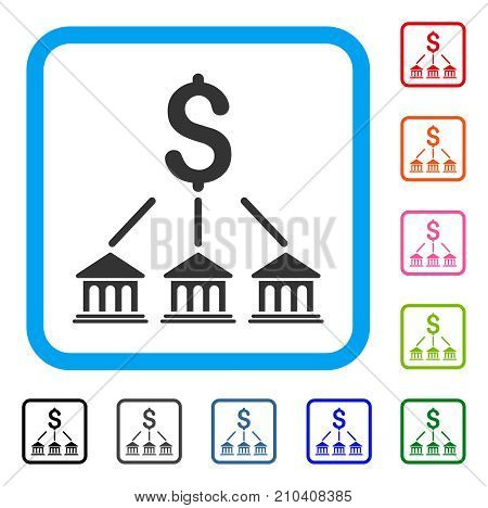 Bank Organization icon. Flat gray pictogram symbol inside a light blue rounded rectangular frame. Black, gray, green, blue, red, orange color additional versions of Bank Organization vector.