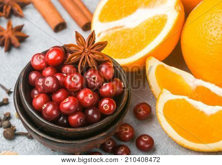 Ingredients For Cooking Traditional Spicy Winter Drinks - Cranberry, Citrus, Cinnamon, Cardamom, Sta