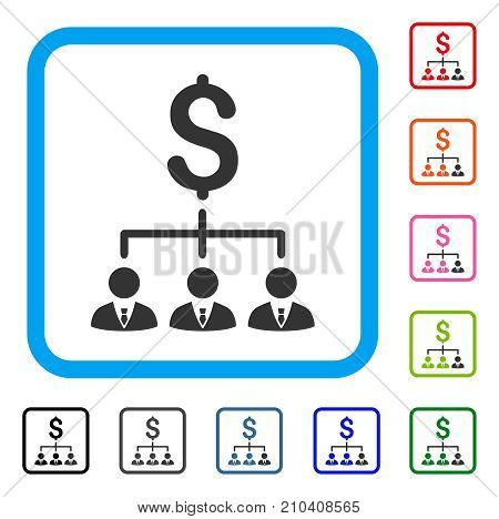 Banker Links icon. Flat grey pictogram symbol inside a light blue rounded rectangle. Black, gray, green, blue, red, orange color versions of Banker Links vector. Designed for web and app interfaces.
