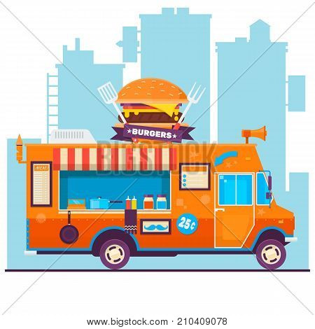 Food truck vector flat illustrations.Street food van.Vector food menu flyer. Hipster menu board.