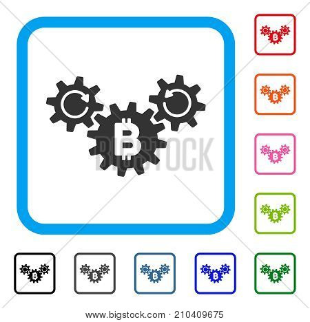 Bitcoin Wheels Rotation icon. Flat gray iconic symbol in a light blue rounded squared frame. Black, gray, green, blue, red, orange color variants of Bitcoin Wheels Rotation vector.