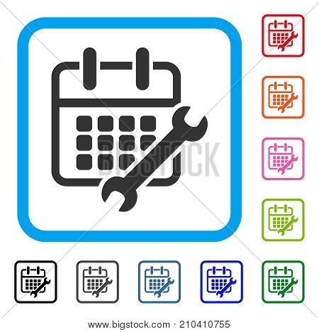 Calendar Configure icon. Flat grey iconic symbol inside a light blue rounded rectangular frame. Black, gray, green, blue, red, orange color additional versions of Calendar Configure vector.