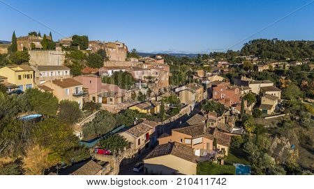 ROUSSILLION, FRANCE - OCTOBER 03, 2017: Roussillon village in France, built from a red sandstone