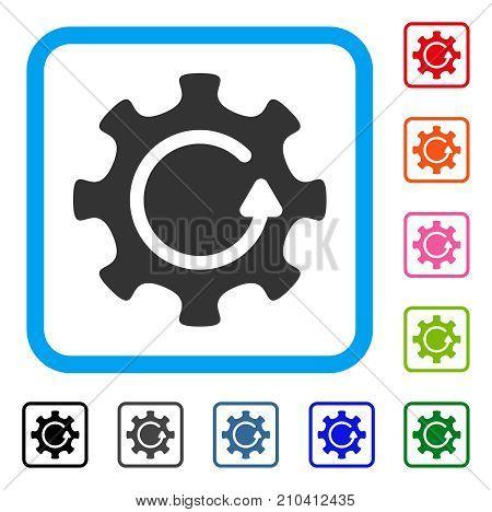 Cog Rotation Direction icon. Flat grey pictogram symbol inside a light blue rounded frame. Black, gray, green, blue, red, orange color additional versions of Cog Rotation Direction vector.