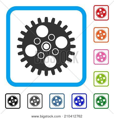 Cogwheel icon. Flat grey iconic symbol inside a light blue rounded rectangular frame. Black, gray, green, blue, red, orange color variants of Cogwheel vector. Designed for web and application UI.
