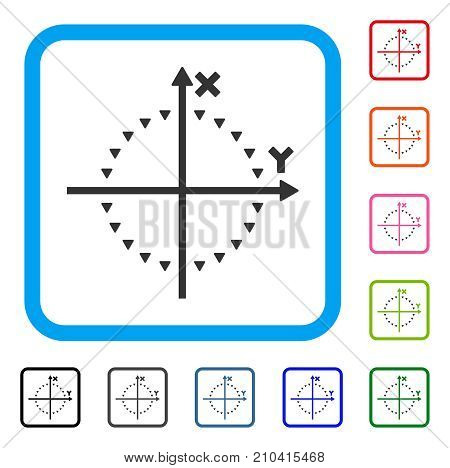 Dotted Circle Plot icon. Flat grey pictogram symbol inside a light blue rounded square. Black, gray, green, blue, red, orange color variants of Dotted Circle Plot vector.