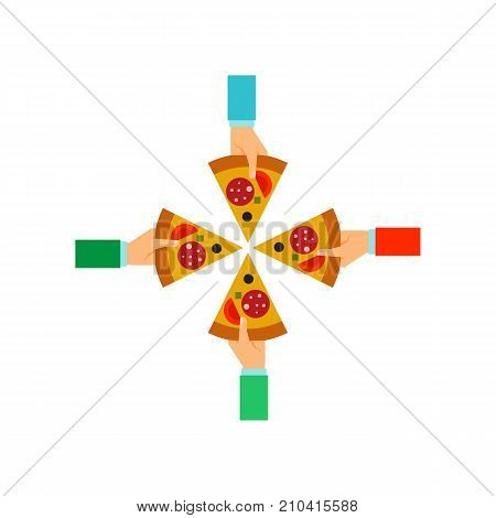 Four hands holding slices of pizza. Meal, pizza, takeaway. Food concept. Can be used for topics like food delivery, restaurant, service.