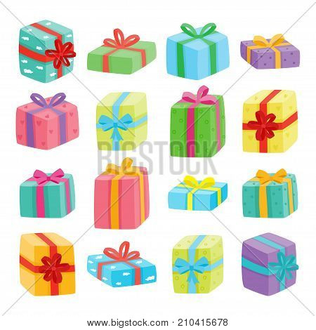 Big presents collection. Vector illustration of cartoon cute color gifts isolated on white background. Christmas, birthday, anniversary or Valentine s day gifts boxes.