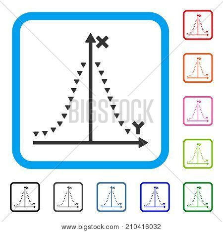 Dotted Gauss Plot icon. Flat gray iconic symbol inside a light blue rounded squared frame. Black, gray, green, blue, red, orange color variants of Dotted Gauss Plot vector.