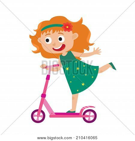 Cute vector concept illustration of little girl having fun outside. Happy small child riding kick scooters outdoors. Summer break, little redhaired girl in dress having free time playing isolated on white background. Pretty girl player. Happy child.