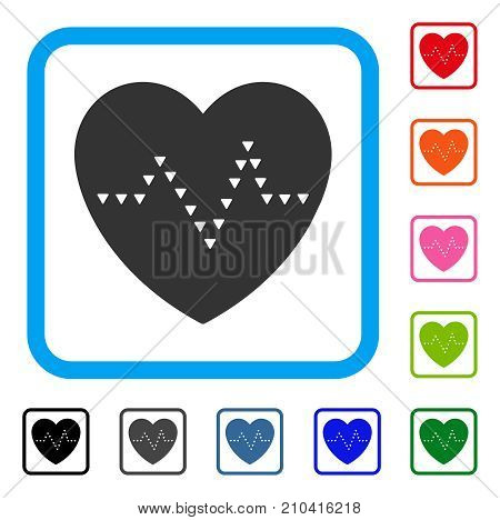 Dotted Heart Pulse icon. Flat gray pictogram symbol inside a light blue rounded rectangle. Black, gray, green, blue, red, orange color versions of Dotted Heart Pulse vector.