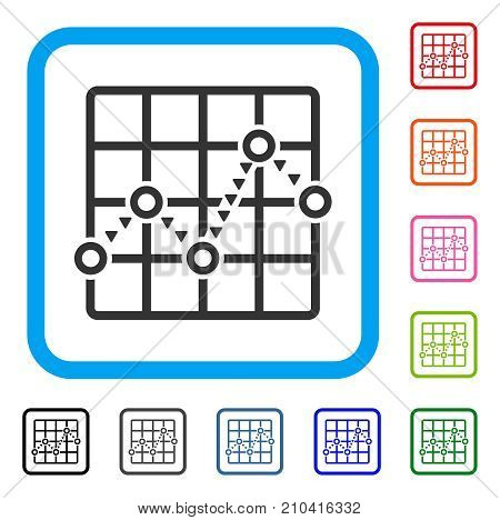 Dotted Line Grid Plot icon. Flat grey iconic symbol in a light blue rounded frame. Black, gray, green, blue, red, orange color variants of Dotted Line Grid Plot vector.
