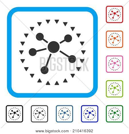 Dotted Links Diagram icon. Flat gray iconic symbol inside a light blue rounded rectangular frame. Black, gray, green, blue, red, orange color variants of Dotted Links Diagram vector.