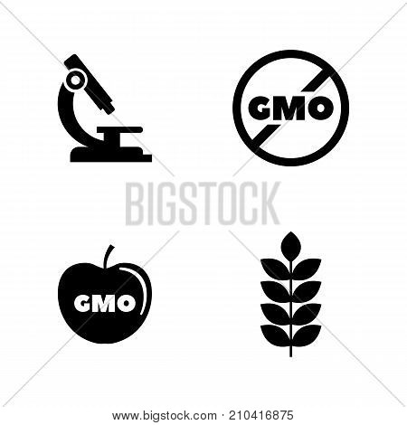 Gmo. Simple Related Vector Icons Set. Black Flat Illustration on White Background.
