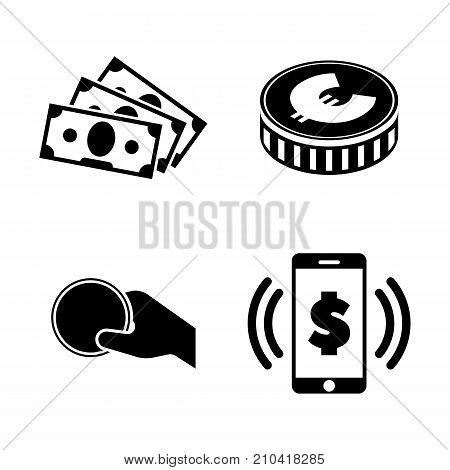 Money. Simple Related Vector Icons Set. Black Flat Illustration on White Background.
