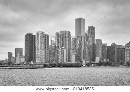 Black And White Picture Of Chicago Waterfront, Usa