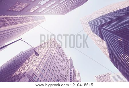 Vintage Stylized Photo Of Skyscrapers In Chicago, Usa.