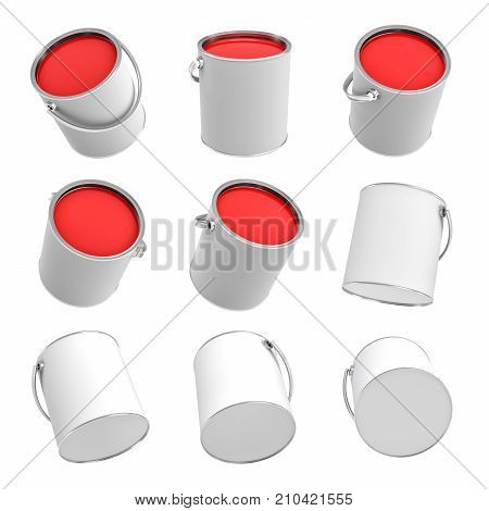 3d rendering of several paint buckets with red paint in different angles on a white background. Arts supplies. Renovation equipment. Interior redesign tools.