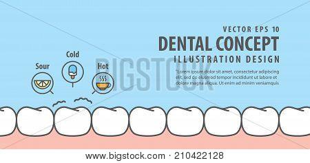 Banner Sensitive Teeth Illustration Vector On Blue Background. Dental Concept.