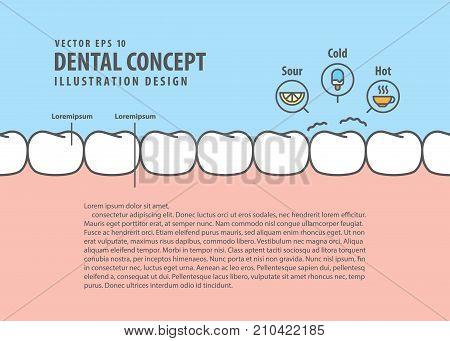 Layout Sensitive Teeth Illustration Vector On Blue Background. Dental Concept.